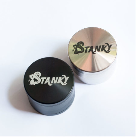 weed grinder stanky vapes black and silver